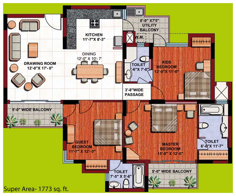 3 bedroom apartment floor plans in india for Apartment plans in india