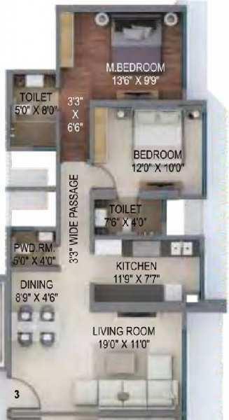 3 BHK Flats & Apartments for Sale in Kanjurmarg, Mumbai
