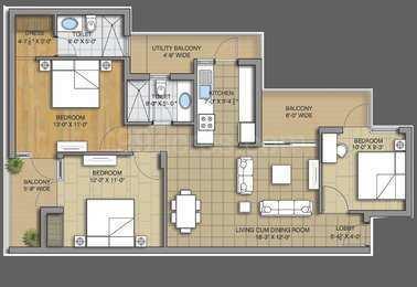3 bhk 1650 sq.ft. flat for sale in SUSHMA GRANDE NXT, CHD-AMB HIGHWAY,ZIRAKPUR