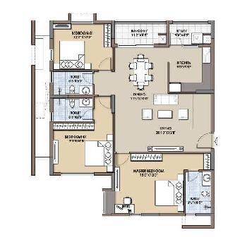 3 bhk 1350 sq.ft. flat for sale in SUSHMA JOYNEST ZRK, CHD-AMB HIGHWAY,ZIRAKPUR