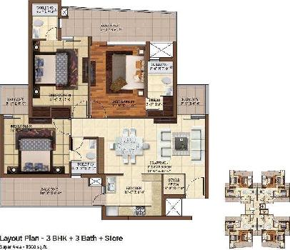 3 BHK Flats & Apartments for Sale in Dhakoli, Zirakpur