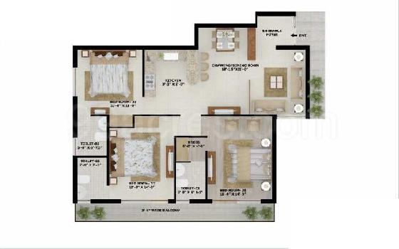 3 BHK Flats & Apartments for Sale in Kharar Kurali Road, Mohali