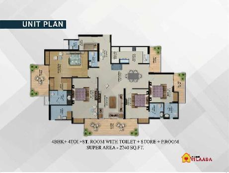 4 BHK FLAT WITH STUDY+STORE+PUJA ROOM