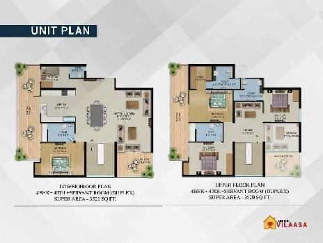 4 BHK DUPLEX WITH 4 TOILET WITH 1 SERVANT ROOM