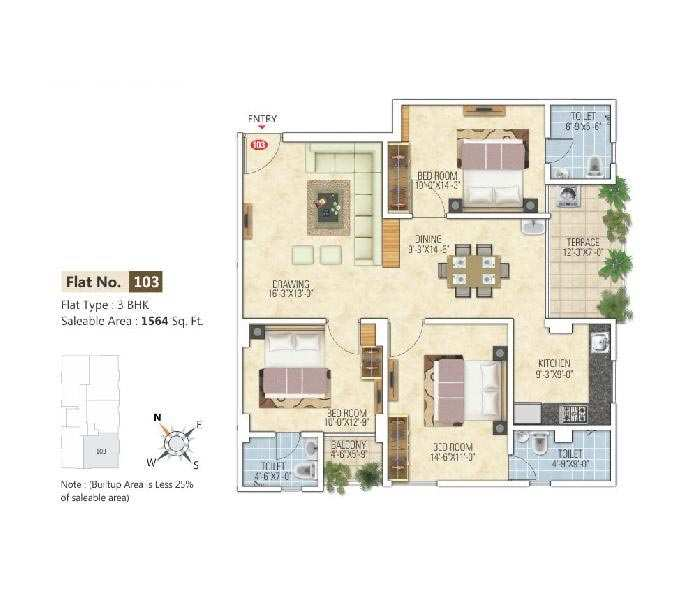 3 BHK Flat for sale at Ajmer Road