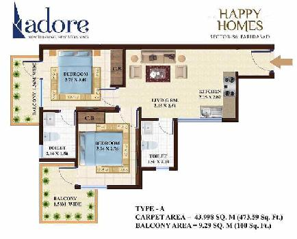 2 BHK Flats & Apartments for Sale in Sector 86, Faridabad