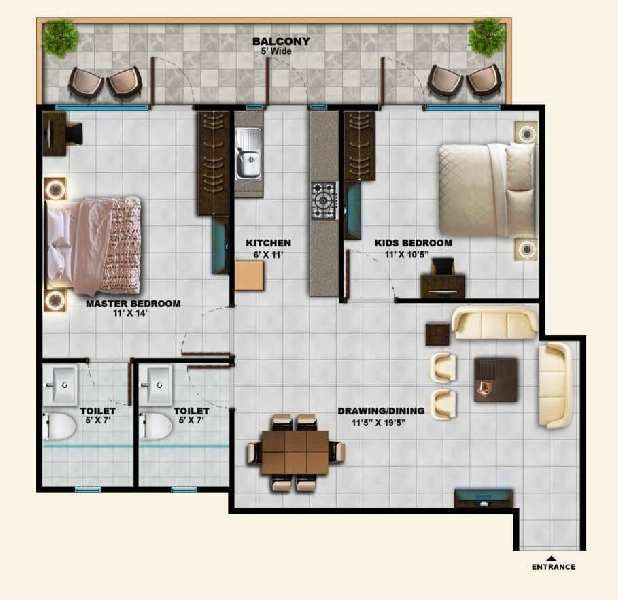 2 BHK Flats & Apartments for Sale in Sector 45, Faridabad