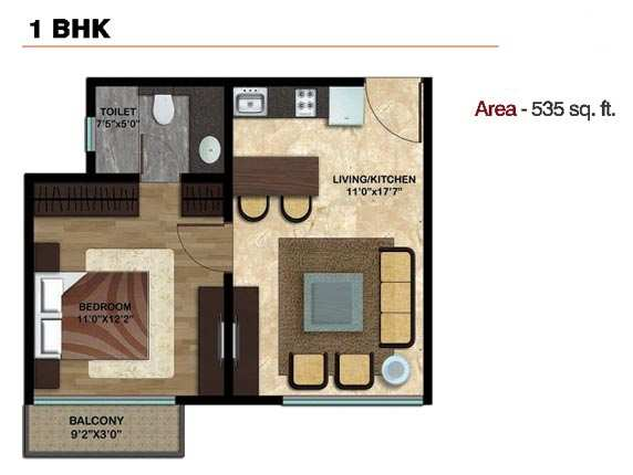 1 BHK with Balcony Apartment At Alibag.13.35 Lac