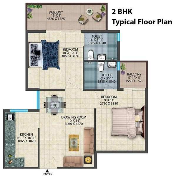 2 BHK Flats & Apartments for Sale in Sector 78, Faridabad