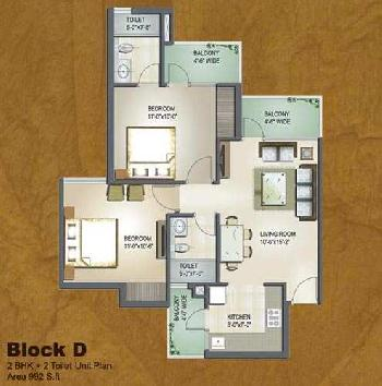 2 BHK Flat for sale in Coral Woods