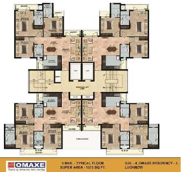1575 sqft omaxe 3 BHK For Sale in Gomtinagar Extension