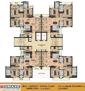 1775 sqft omaxe 3 BHK For Sale in Gomtinagar Extension