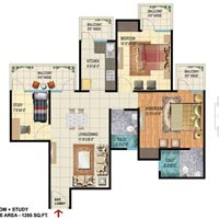 2 Bhk+study 1285sqft Indirapuram 58lac all Inclusive